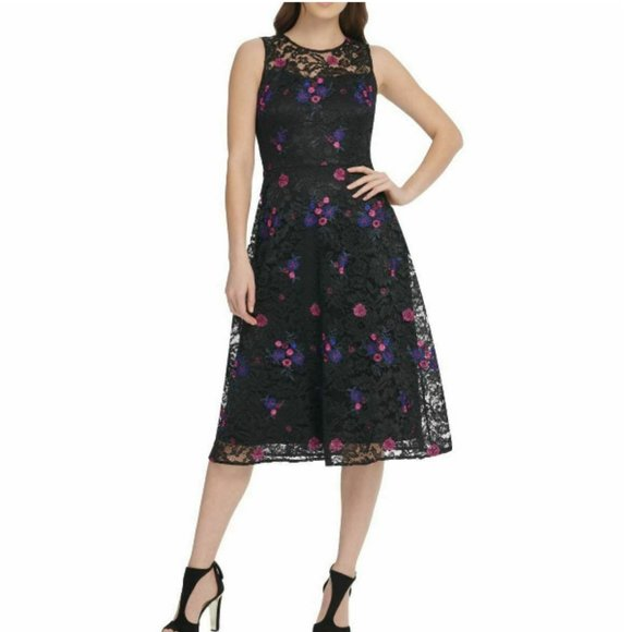 Dkny Dresses & Skirts - NWOT DKNY Fit & Flare Floral Lace Overlay Dress